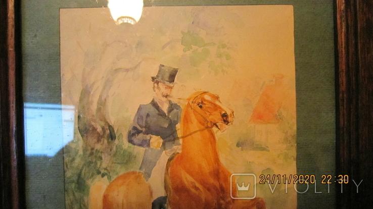 """И. Чаплинская  """"Норовистый конь""""  Акварель, фото №4"""