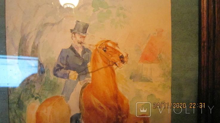"""И. Чаплинская  """"Норовистый конь""""  Акварель, фото №7"""
