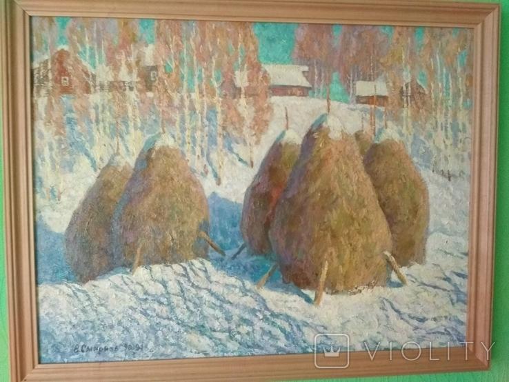 "Смирнов Владимир.""Стога зимой""холст,масло,62 х 80,1990-94 год., фото №2"