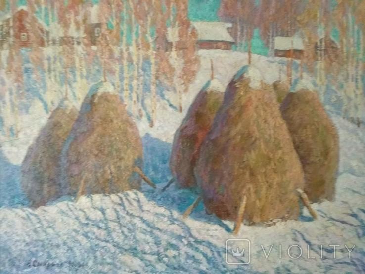 "Смирнов Владимир.""Стога зимой""холст,масло,62 х 80,1990-94 год., фото №4"
