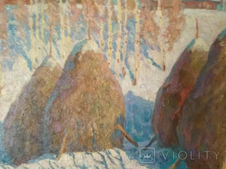 "Смирнов Владимир.""Стога зимой""холст,масло,62 х 80,1990-94 год., фото №5"