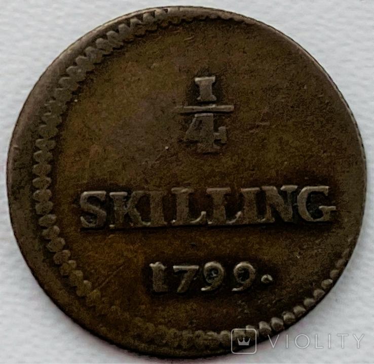 Швеция 1/4 скиллинга 1799 год тираж 96 000, фото №2