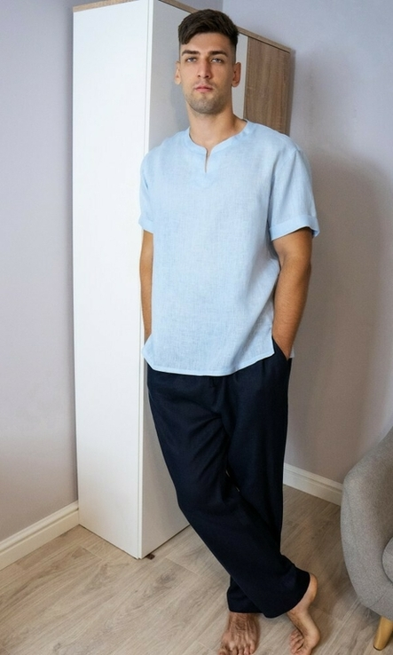 Комплект чоловічого одягу для дому з натурального льону, фото №6