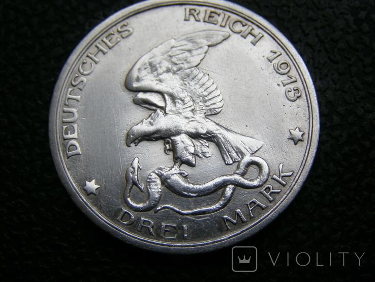 3 марки 1913 г Пруссия. 100-летие битвы под Лейпцигом., фото №2