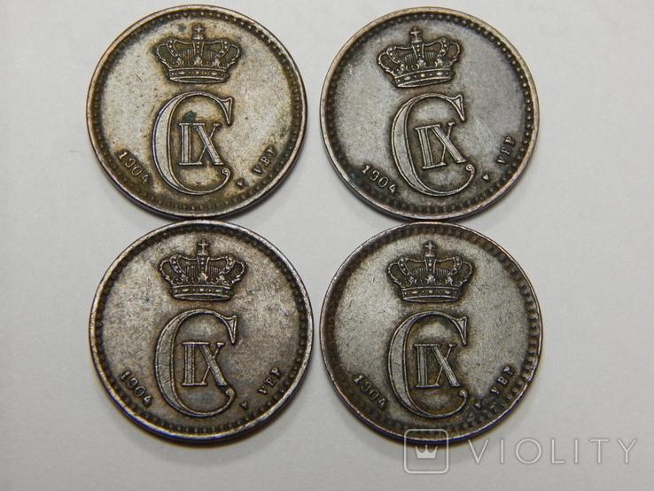 4 монеты по 1 оре, Дания, 1904 г, фото №3