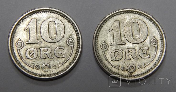 2 монеты по 10 оре, Дания, 1919 г, фото №2