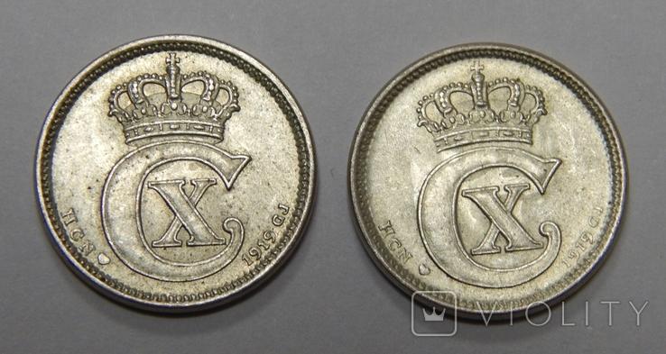 2 монеты по 10 оре, Дания, 1919 г, фото №3