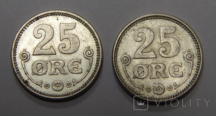 2 монеты по 25 оре, Дания, 1916 г, фото №2