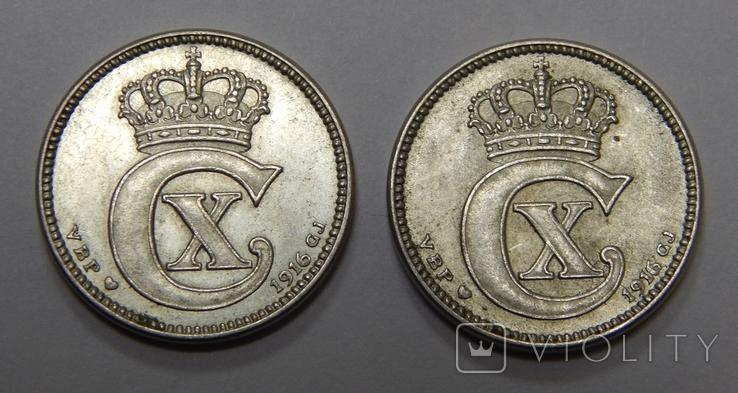 2 монеты по 25 оре, Дания, 1916 г, фото №3