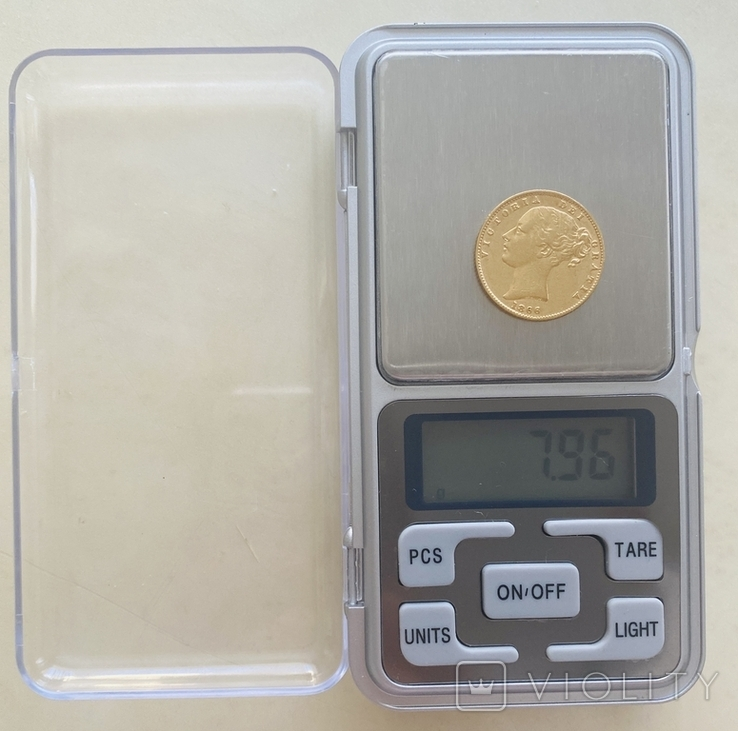 1 фунт (соверен) Великобритания. 1866 (проба 917, вес 7,96 г), фото №4