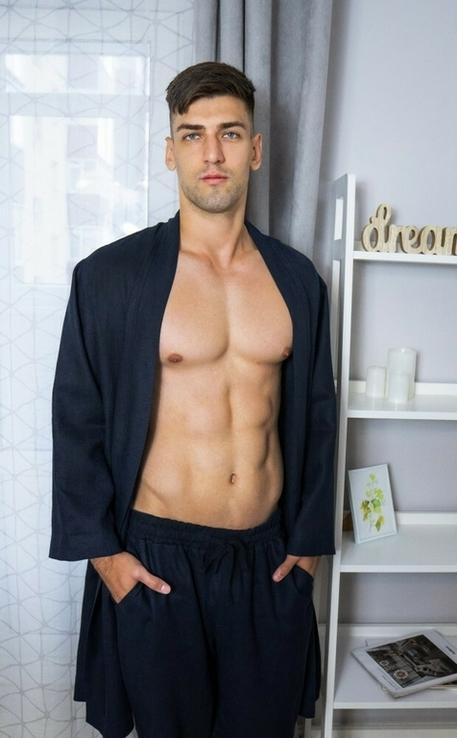Домашній комплект одягу для чоловіків з натурального льону, фото №3