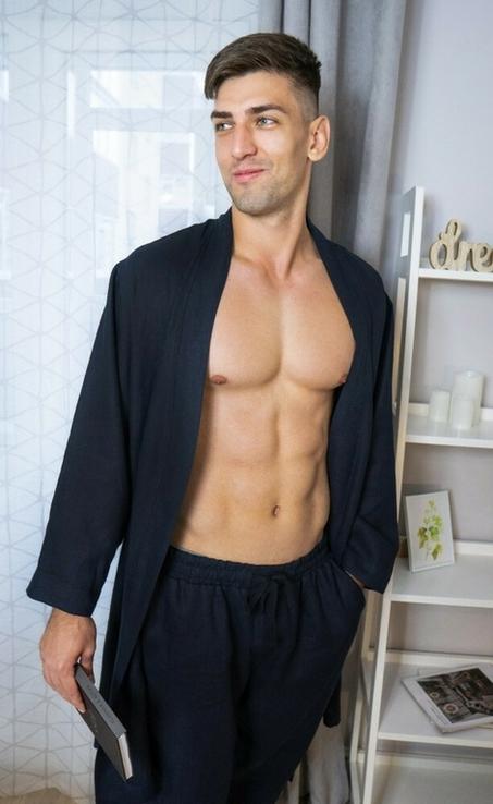 Домашній комплект одягу для чоловіків з натурального льону, фото №4