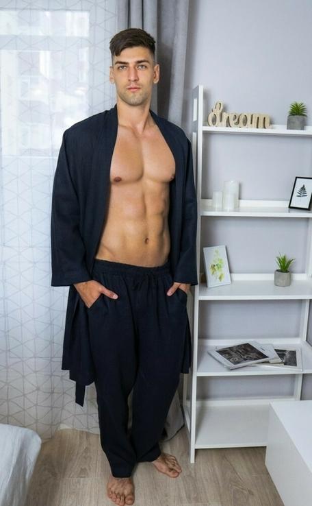 Домашній комплект одягу для чоловіків з натурального льону, фото №5