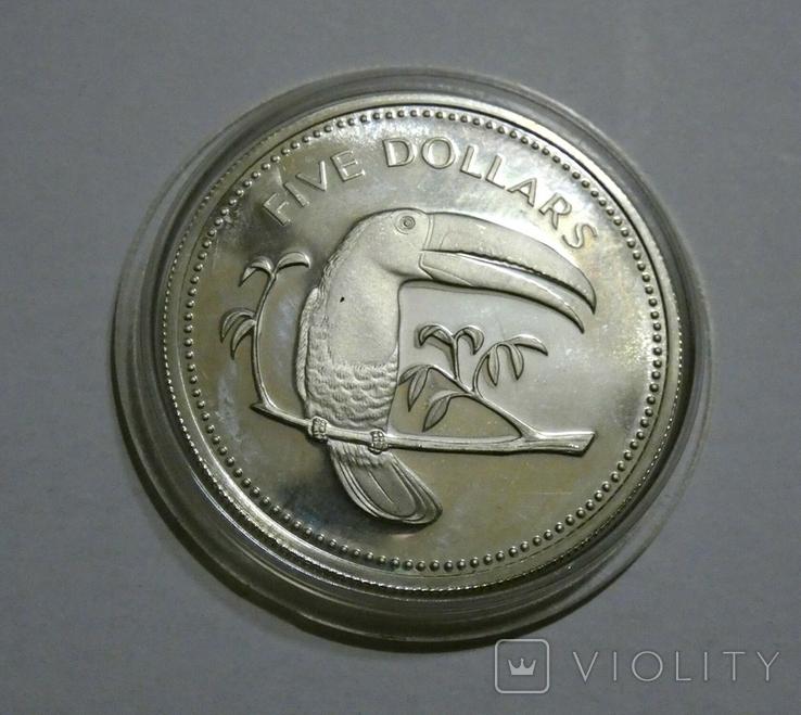 Белиз 5 долларов 1974 - Птицы - серебро, фото №2