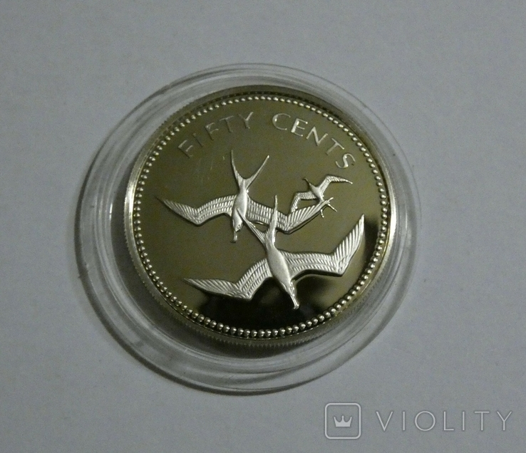Белиз, 50 центов 1974 - Птицы - серебро, фото №2