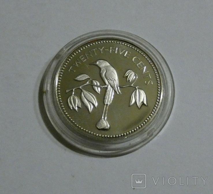 Белиз, 25 центов 1974 - Птицы - серебро, фото №2