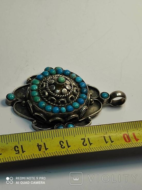 Старый серебряный кулон с бирюзой 56 грамм, фото №4