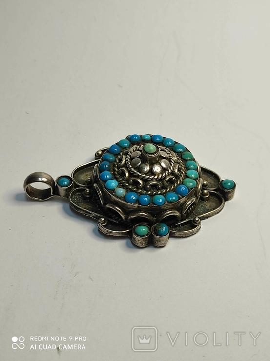 Старый серебряный кулон с бирюзой 56 грамм, фото №7