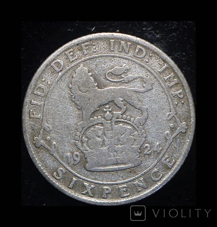 Великобритания 6 пенсов 1924 серебро, фото №3