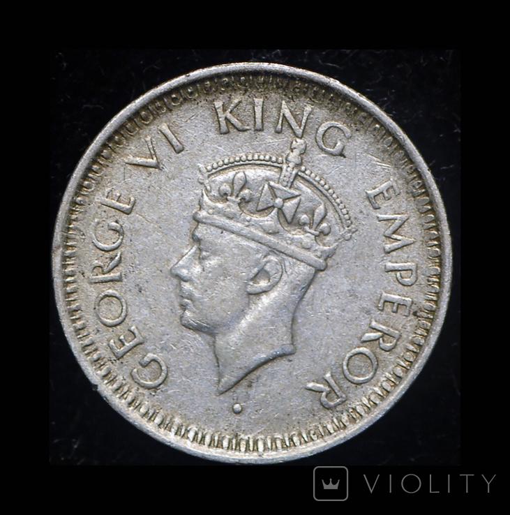 Британская Индия 1/4 рупии 1943 серебро, фото №2