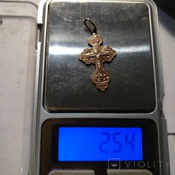 Крестик  с позолотой 2,5 гр, фото №7