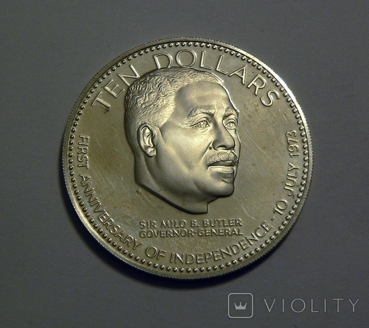 Багамские Острова, 10 долларов 1974 - 1 год Независимости - серебро, 50.4 грамм, фото №2