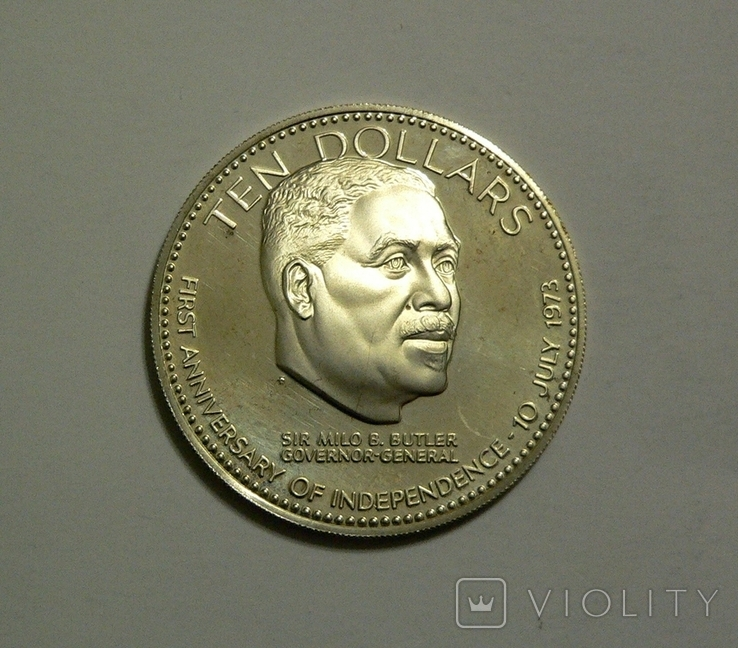 Багамские Острова, 10 долларов 1974 - 1 год Независимости - серебро, 50.4 грамм, фото №3