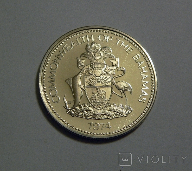 Багамские Острова, 1 доллар 1974 - Ракушка - серебро, фото №3