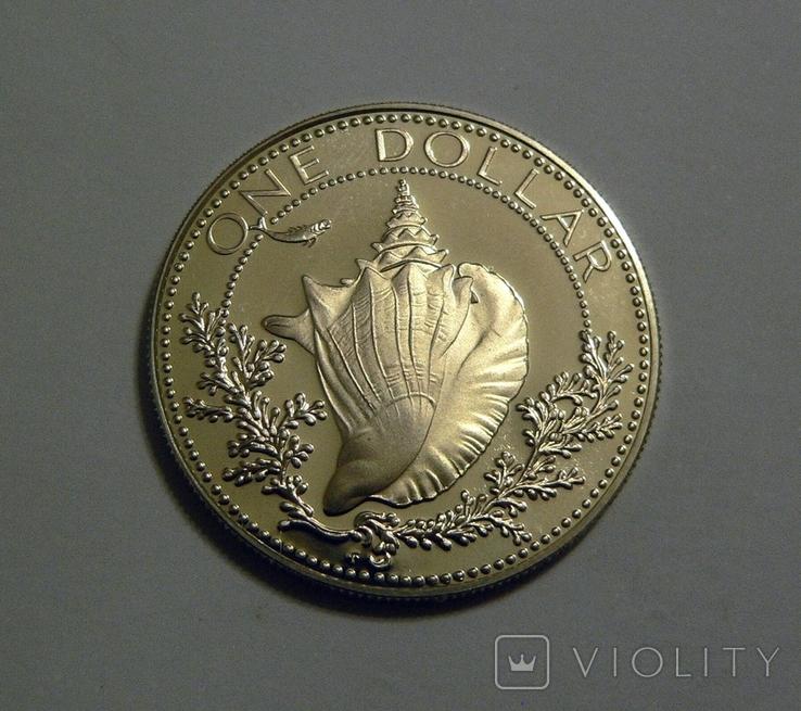 Багамские Острова, 1 доллар 1974 - Ракушка - серебро, фото №2