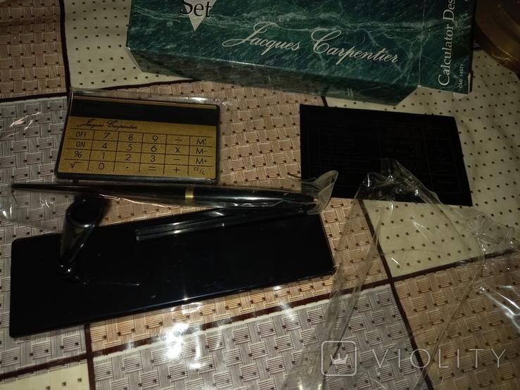 Набор: ручка, подставка под неё, калькулятор. Ранний Китай, нач 1990-х, фото №4