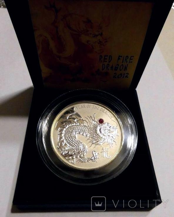 Красный Огненный Дракон с натуральным рубином - серебро 999, 2 унции, тираж 888 штук, фото №5