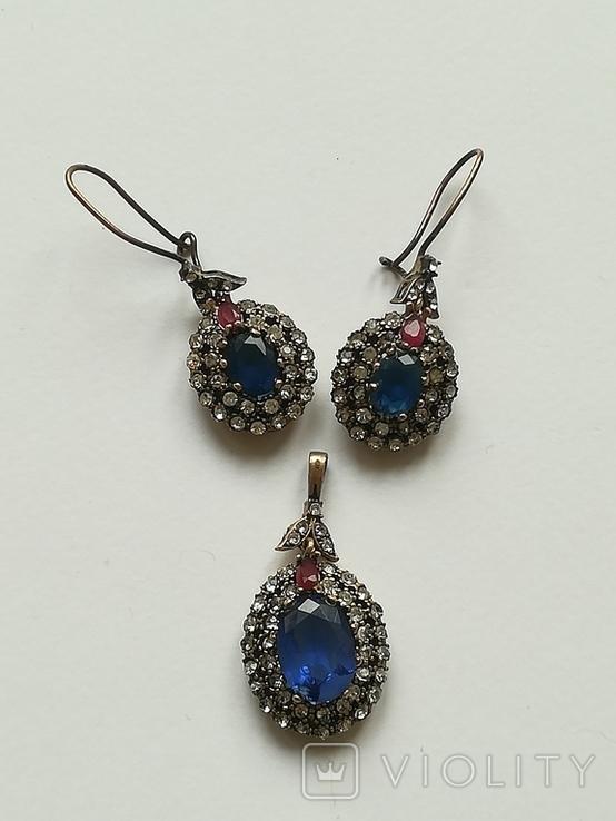 Серебрянные серьги и кулон, фото №2