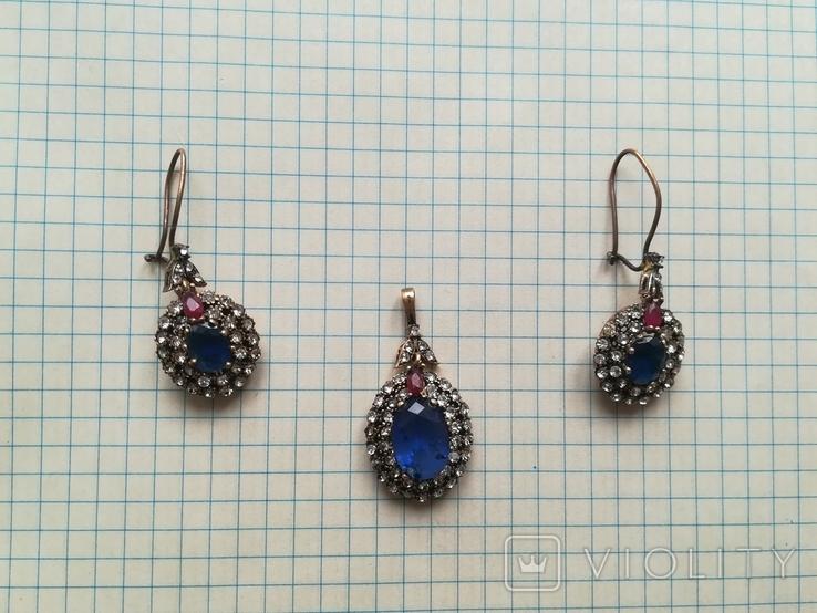 Серебрянные серьги и кулон, фото №6
