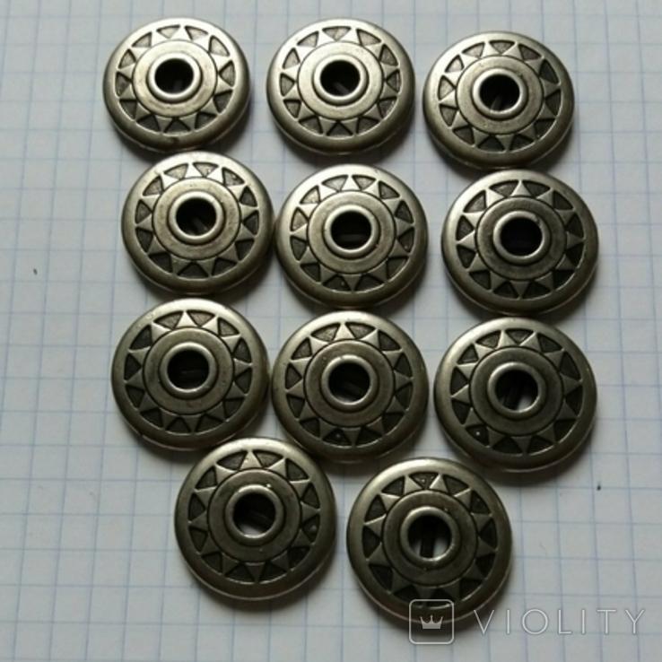 Пуговицы из тяж. металла колесо солнце 11 шт, фото №2