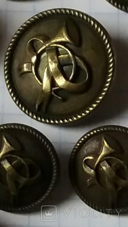 Пуговицы латунные форменные с трубой Музыканты? 12 шт, фото №3