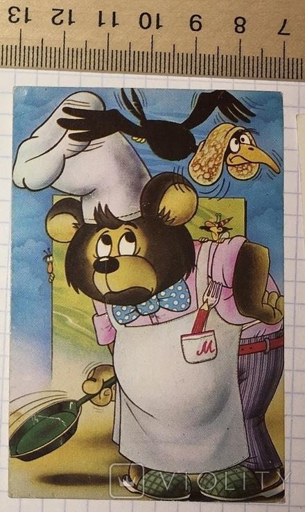 Календарик герои мультфильмов, 1986 / Болгария, мишка, ворона, блин, фото №2
