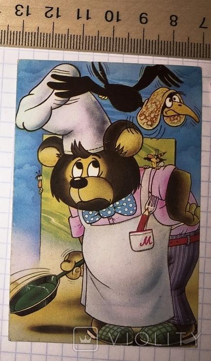 Календарик герои мультфильмов, 1986 / Болгария, мишка, ворона, блин, фото №3