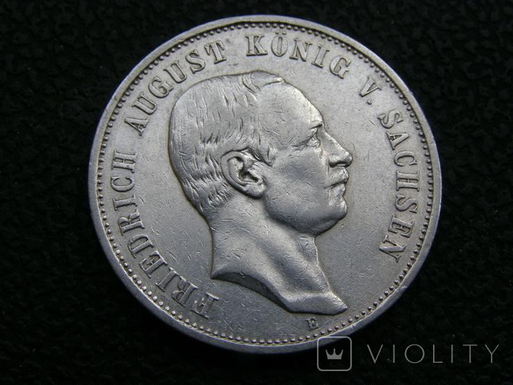 3 марки 1909 Е Саксония. Фридрих Август., фото №2