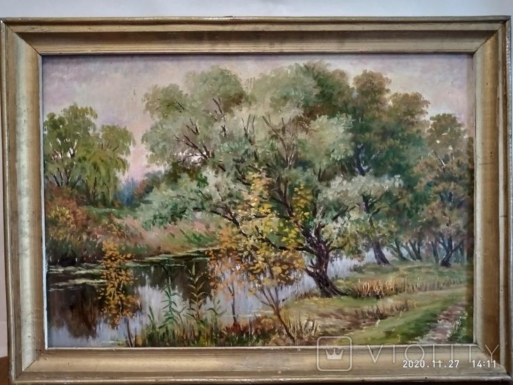 "Пейзаж ""У реки"" размер 65*45см, автор не известен, фото №2"