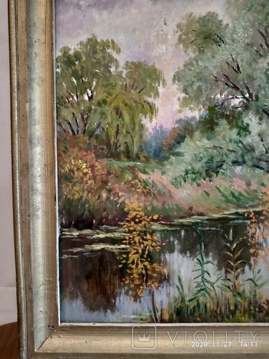 "Пейзаж ""У реки"" размер 65*45см, автор не известен, фото №3"