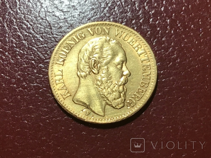 10 марок Карл Вюртембург Германия 1877, фото №2