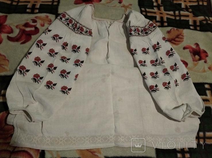 Старинная сорочка. Миргород. Вышивка крестиком. Полотно., фото №2