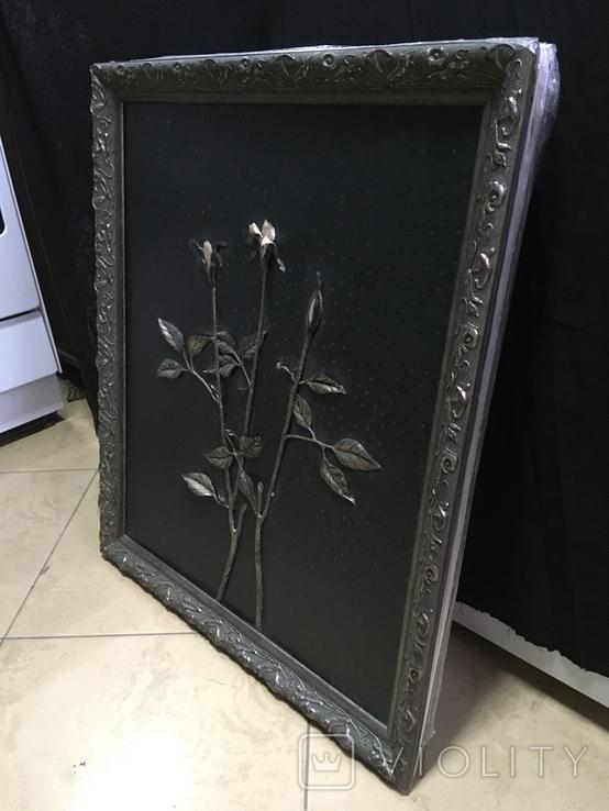 "Картина ""Троянды"" розы покрытые серебром на кожаном холсте, фото №3"
