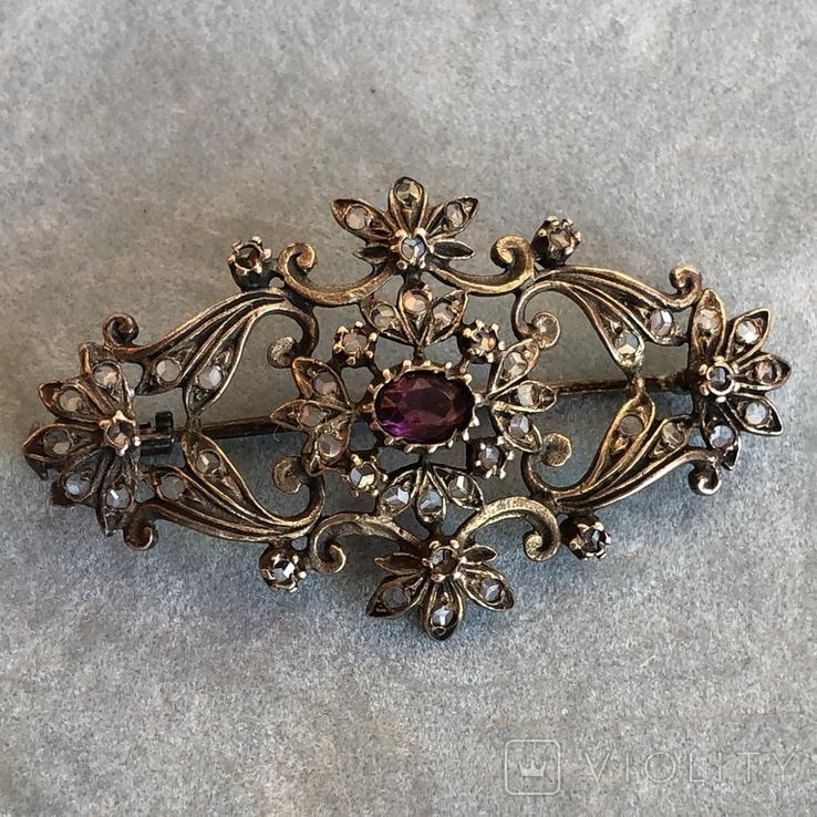 Серебряная брошь с алмазами, 48 шт, фото №4