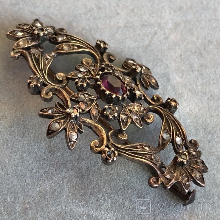 Серебряная брошь с алмазами, 48 шт, фото №7