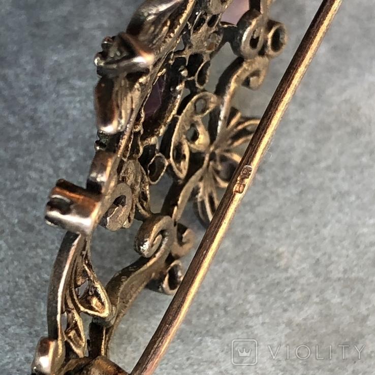 Серебряная брошь с алмазами, 48 шт, фото №8