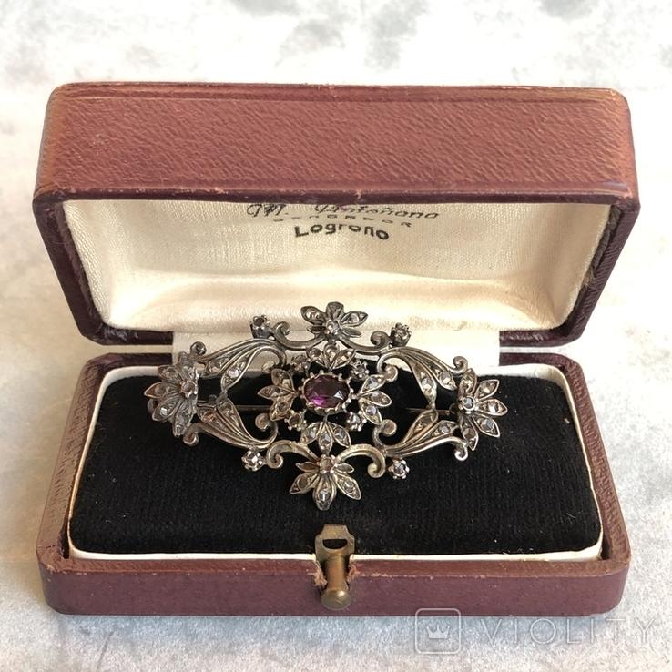 Серебряная брошь с алмазами, 48 шт, фото №13