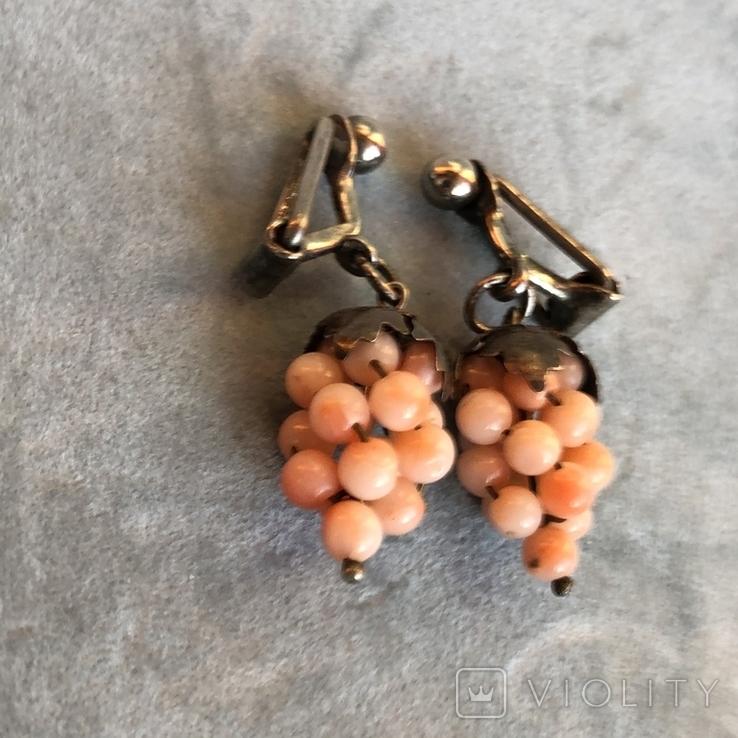 Серебряные клипсы «Виноград» с кораллом, Италия, фото №3