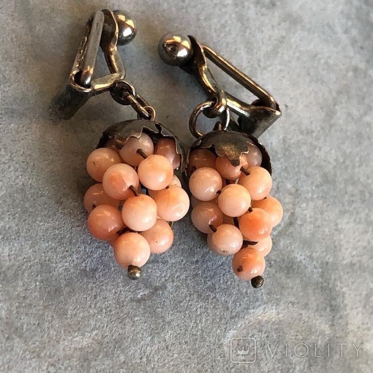Серебряные клипсы «Виноград» с кораллом, Италия, фото №5