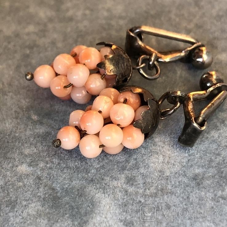 Серебряные клипсы «Виноград» с кораллом, Италия, фото №2